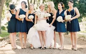 bridal wedding on vogue blush wedding dress bridesmaids in navy