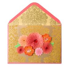 orange gold paper sculpted flowers birthday cards papyrus