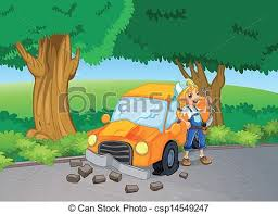 a car crash at the road near the big trees illustration of eps