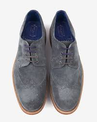 Wedding Shoes Ted Baker Ted Baker Suede Wingtip Brogues In Gray For Men Lyst