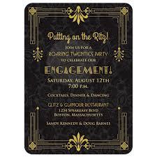 roaring 20s engagement party invitation black gold art deco