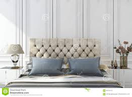 White Classic Bedroom Furniture 3d Rendering Luxury Blue Bed In White Classic Bedroom Stock