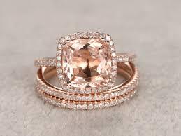 morganite wedding set 2 4 carat cushion cut morganite wedding set diamond bridal ring