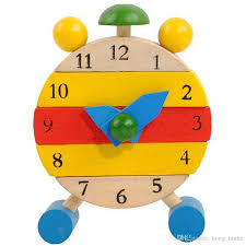 wooden toy clock hand made wood clock toys kids learn time clock