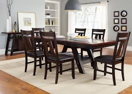 7 piece rectangular trestle table and splat back chairs set by