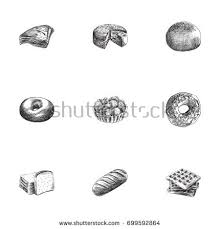 hand drawn cake sketches set collection stock vector 698069878