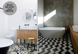 Bathroom White And Black Interior by Patterned Tiles Interior Design Trend Design Lovers Blog