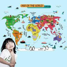 Decorative World Map Kids World Map Wall Stickers Boys Room Nursery Wall Decals
