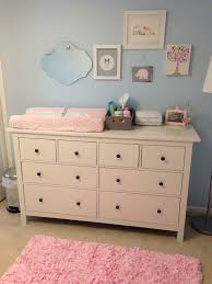 Nursery Changing Table Dresser Light Blue Pink Nursery With Ikea Dresser As Changing Table In