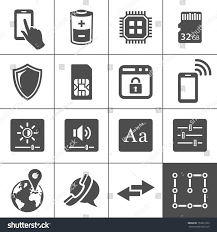 mobile device settings icons tablet pc stock vector 153812723