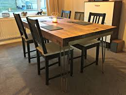 dining table with hairpin legs 2103