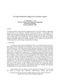 an online residential cooling load calculation program air