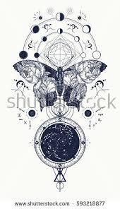 butterfly tattoo geometrical style beautiful butterfly stock