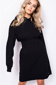 Black Hoodie Dress Reduce Dress Madlady
