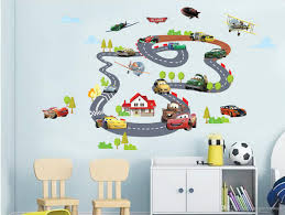 car rail racing wall art decal sticker kids room nursery mural car rail racing wall art decal sticker kids room nursery mural decoration poster sky airplane house tree graphic