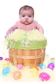 baby easter basket baby in easter basket stock image image of season infant 19104237