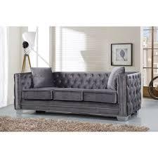meridian reese grey velvet sofa free shipping today overstock