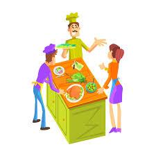 cours de cuisine pour professionnel cours de cuisine pour un illustration de vecteur