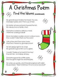 free a christmas poem find the idioms parts of speech syntax