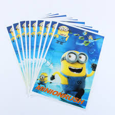 minion gift bags 20pcs lot faced minion gift bag party decoration plastic
