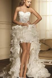 casual wedding dresses short forward and long in the back made in