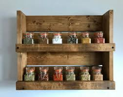 Wooden Wall Mount Spice Rack Farm House Spice Rack Rustic Spice Rack With 3 Shelves