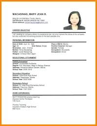 format of resume sle resume personal information sle resume format 4 resume