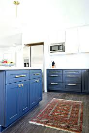 blue kitchen cabinets houzz cream colored with black appliances