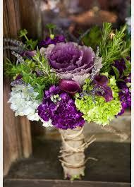 flowering purple kale wedding bouquets centerpieces purple