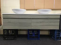 asti 1500mm light grey oak timber wood grain wall hung bathroom