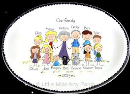 personalized family platters family portrait platters miss arty family