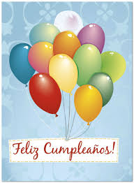 feliz cumpleaños balloons card spanish birthday cards posty cards