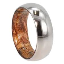 mens wedding band mens wedding band titanium ring with inner wood sleeve