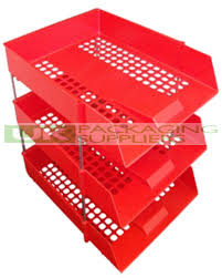 Office Desk Trays by 3 Plastic Filing Trays Risers Red Stacking In Out Desk Letter