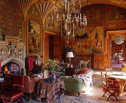 a late georgian drawing room in eastnor castle with chandeliers