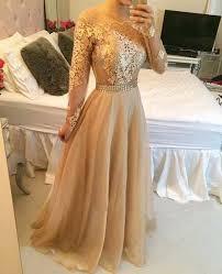 long sleeve prom dress gold prom dresses lace prom dresses