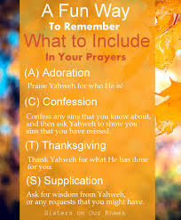 a way to remember what to include in your prayers on