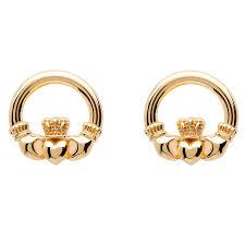 10k earrings gold claddagh stud earrings