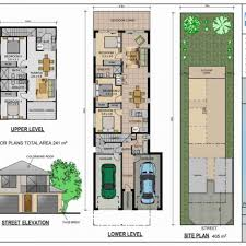floor plan house plans for narrow lots on waterfront with front