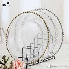 cheap plates for wedding wholesale 13inch cheap wedding cear silver gold glass beaded