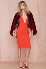 nasty gal solace london grace knee length dress in red lyst