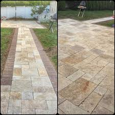 Travertine Patio Travertine Patio U0026 Walkway With Cambridge Paver Borders U2026 Flickr