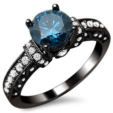 black gold engagement ring 1 35ct blue diamond engagement ring 14k black gold rhodium