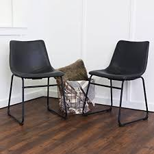 Leather Dining Chair We Furniture Black Faux Leather Dining Chairs Set Of 2