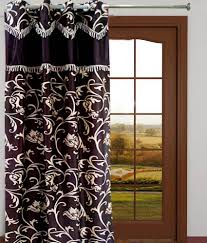 India Curtains Homefab India Single Door Eyelet Curtain Embroidered Brown