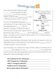 easy history of thanksgiving worksheet