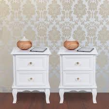 Schlafzimmer Kommode Amazon Amazon De Songmics 2 Nachttische Mit 2 Schubladen Weiß