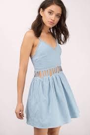 powder blue dress cut out dress sleeveless mini dress skater