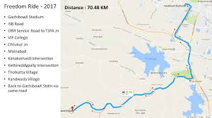 Hyderabad Map The Freedom Ride 2017 In Hyderabad On August 12 13 2017 Fests Info