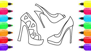 how to draw womens shoes coloring pages for girls learning